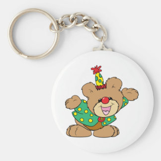 silly clown teddy bear design keychain