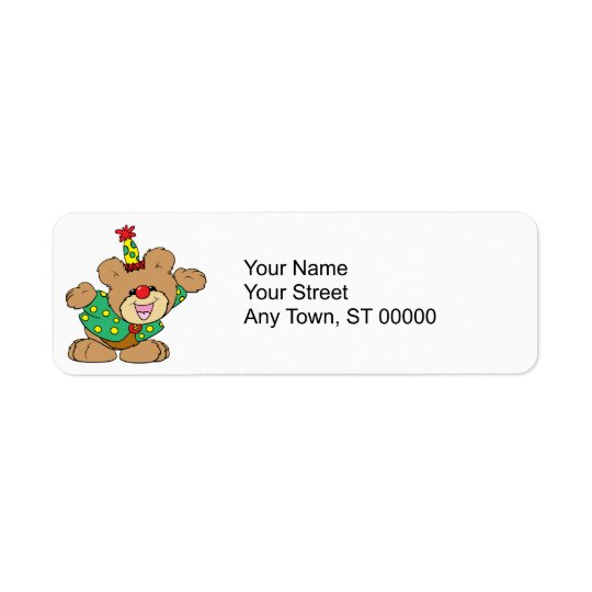 silly clown teddy bear design label