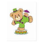 Silly Clown Teddy Bear Postcard