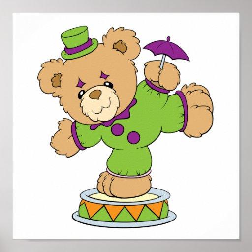 Silly Clown Teddy Bear Poster