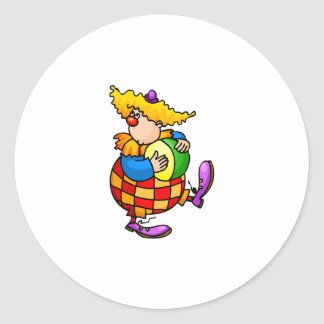 Silly Clown with Beach Ball Classic Round Sticker