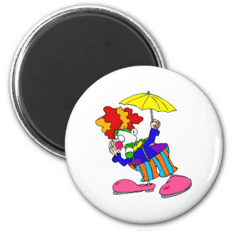 Silly Clown With Umbrella Fridge Magnets