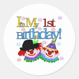 Silly Clowns 1st Birthday Classic Round Sticker
