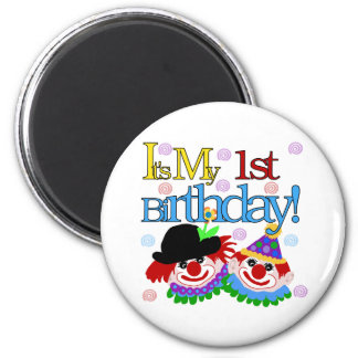 Silly Clowns 1st Birthday Fridge Magnets