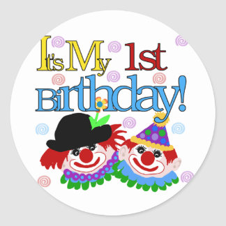 Silly Clowns 1st Birthday Tshirts and Gifts Classic Round Sticker
