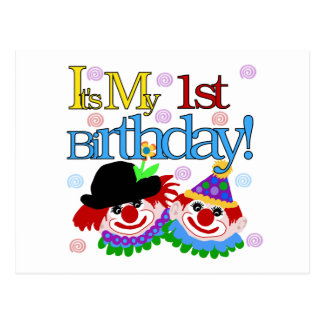 Silly Clowns 1st Birthday Tshirts and Gifts Postcard