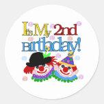 Silly  Clowns 2nd Birthday Classic Round Sticker