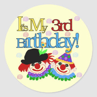 Silly Clowns 3rd Birthday Tshirts and Gifts Classic Round Sticker