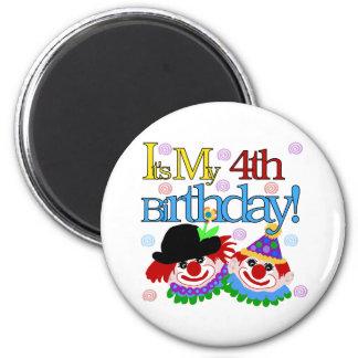 Silly Clowns 4th Birthday 2 Inch Round Magnet
