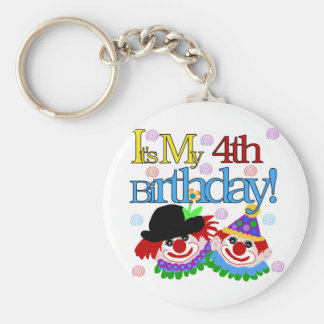 Silly Clowns 4th Birthday Tshirts and Gifts Basic Round Button Keychain