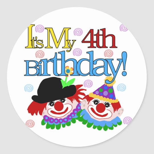 Silly Clowns 4th Birthday Tshirts and Gifts Classic Round Sticker
