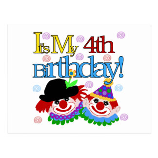 Silly Clowns 4th Birthday Tshirts and Gifts Postcard