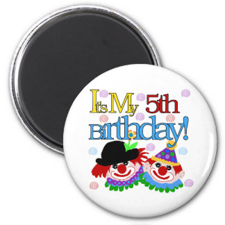 Silly Clowns 5th Birthday Magnet