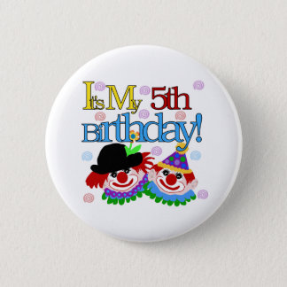 Silly Clowns 5th Birthday Pinback Button