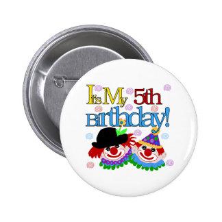 Silly Clowns 5th Birthday Pinback Button