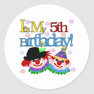 Silly Clowns 5th Birthday Classic Round Sticker