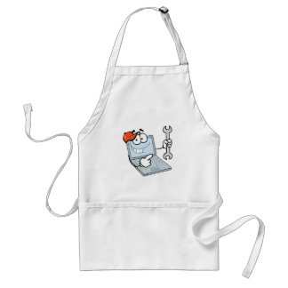 silly computer repair cartoon laptop with wrench adult apron