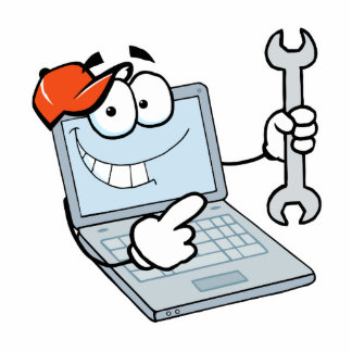 silly computer repair cartoon laptop with wrench standing photo sculpture
