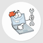 silly computer repair cartoon laptop with wrench classic round sticker