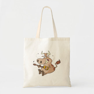 silly cow cartoon playing guitar canvas bags