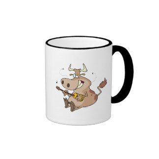 silly cow cartoon playing guitar mugs