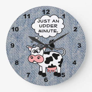 Silly Cow Just An Udder Minute Faded Denim Clock