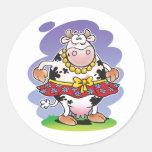 Silly Cow Matilda Round Stickers