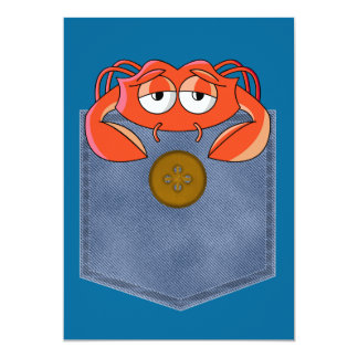 silly crabby crab in a jean pocket card
