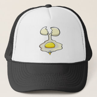silly cracked egg trucker hat