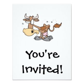silly cute brown cow bugged by flies cartoon 4.25x5.5 paper invitation card