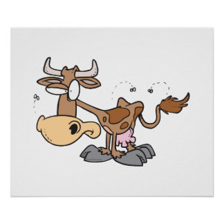 silly cute brown cow bugged by flies cartoon poster