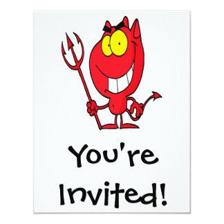 silly cute cartoon devil with pitchfork card
