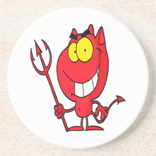 silly cute cartoon devil with pitchfork beverage coasters