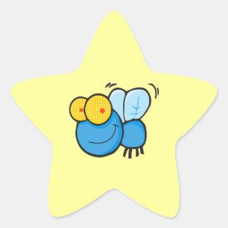 silly cute cartoon fly character star sticker