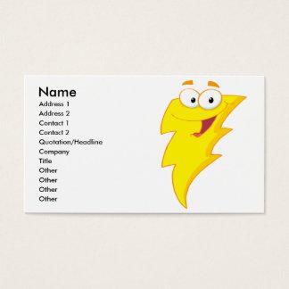 silly cute cartoon lightning bolt character business card