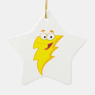 silly cute cartoon lightning bolt character ceramic ornament