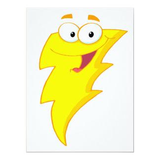 silly cute cartoon lightning bolt character 6.5x8.75 paper invitation card