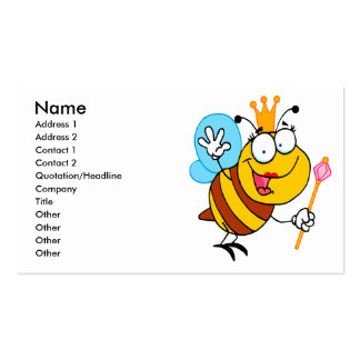 silly cute cartoon queen bee business card
