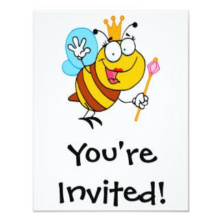 """silly cute cartoon queen bee 4.25"""" x 5.5"""" invitation card"""