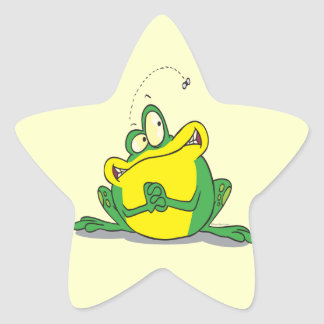 silly cute froggy patience for the fly sticker