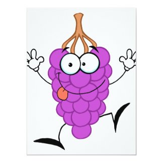 silly cute funny purple grapes cartoon character personalized invitations