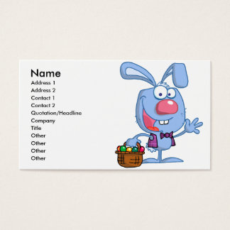 silly cute happy easter bunny with basket business card