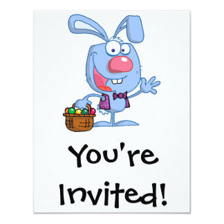 silly cute happy easter bunny with basket card