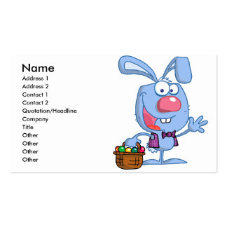 silly cute happy easter bunny with basket Double-Sided standard business cards (Pack of 100)