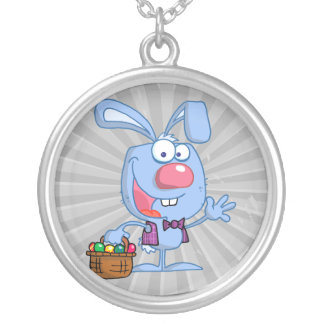 silly cute happy easter bunny with basket round pendant necklace