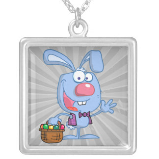 silly cute happy easter bunny with basket square pendant necklace