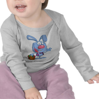 silly cute happy easter bunny with basket tshirts
