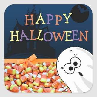 Silly Cute Happy Halloween Ghost Stickers