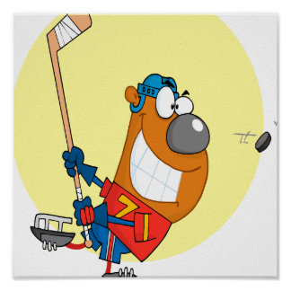 silly cute hockey player playing bear cartoon poster