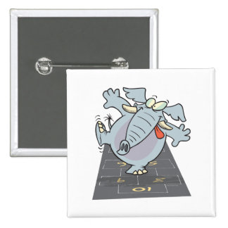 silly cute hopscotch elephant toon pinback button